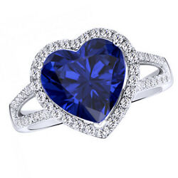 Sapphire And Natural Diamond Halo Heart Engagement Wedding Ring 10k White Gold