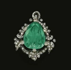 Lab Emerald Green Pendant Brooch Pin Vintage Style 925 Sterling Silver Jewelry