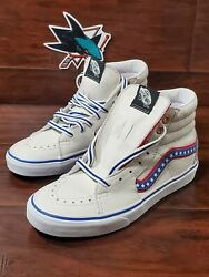 Sk8 Hi Leather Skate Shoes Evil Knievel White Racing Red Americana Size 5.5