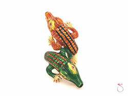 Vintage Large Enameled Alligator Ring In 18k Yellow Gold And Rubies. Rare 1960and039s