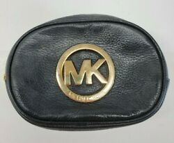 Michael Kors Black Leather Cosmetic Makeup Pouch Case Travel Small Gold hardware $28.69