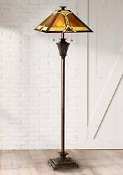Style Floor Lamp French Bronze Stained Glass Mica Living Room Reading