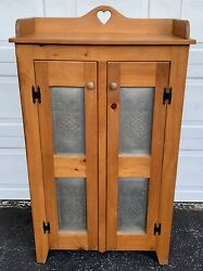 Vtg Punched Metal Pineapple Stained Wood Pie Safe Jelly Cupboard Kitchen Cabinet