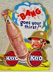 Scarce Kayo Sign Wwii Comic Strip Chocolate Drink Diecut Bottle Sign 1940's