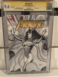 Avengers 7 Cgc Ss 9.6 Scarlet Witch Original Art Cover Signed Sketch Mike Dooney