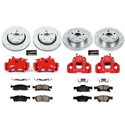 Kc5952 Powerstop 4-wheel Set Brake Disc And Caliper Kits Front And Rear For Jeep