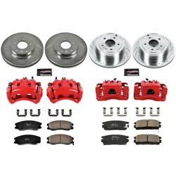Kc2091 Powerstop Brake Disc And Caliper Kits 4-wheel Set Front And Rear For Chevy