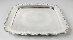 Vintage Mid Century Wilcox Square Silver Plate Footed Barware Serving Tray