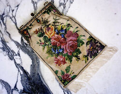 Great Victorian Floral Beaded Purse 19th Century.