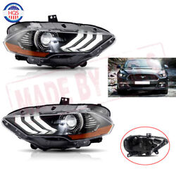 Pair Led Headlights For 2018 2019 Ford Mustang Dual Beam Drl Projector Head Lamp