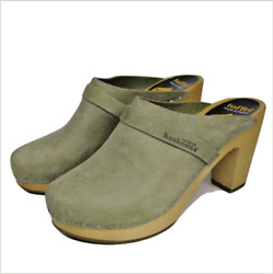 Swedish Hasbeens Toffel Womens Clogs Shoes 11 Green Leather Wood Made In Sweden