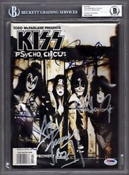Gene Simmons And Paul Stanley +2 Signed Autographed Kiss Magazine Bas Slabbed