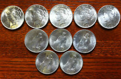 10 - Peace Silver Dollar Coins Rounds Brilliant Uncirculated 1923 Ship In Tube
