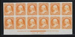 Us 71p3 1862 30c Franklin Plate Proof India Plate Block Of 12 Vf-xf Scv 1700+