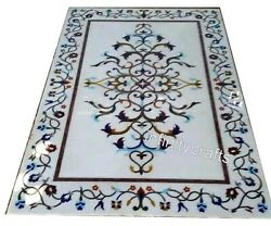 30 X 60 Inch Marble Stone Office Table White Patio Dining Table With Multi Stone