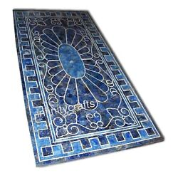 30 X 60 Inches Blue Marble Hotel Table Marquetry Art Dining Table Home Decor
