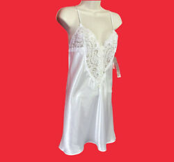 Appel ... Vintage Satin And Lace White Babydoll Teddy Lingerie ... Size L ... New