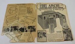 Marx Fort Apache Fighting Fort With Teepee Instructions Folder Sheet 1967