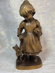 Vintage Carved Wood Girl With Cat Figurine Anri Style