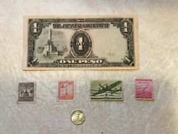 Ww2 Philippines 1 Peso Japan Oc 1943 Silver Coin 1944 Stamp Ww2 And Philippines