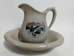 Arnels Pottery Common Loons Water Pitcher And Wash Bowl Basin Vanity Dresser Set