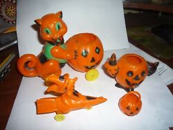 Rosbro Halloween Lot Cat And Pumpkin, Witch On Rocket,jack O Lanterns Container