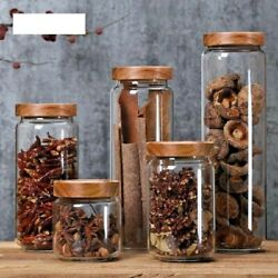 Glass Kitchen Storage Bottles With Wood Airtight Lid Food Coffee Container Jars