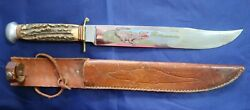 F. A. Bower Carved Painted Steel Gator Hunter 14 Knife By Solingen W/ Sheath