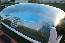 Inflatable Tpu Above Ground Swimming Pool Solar Dome Cover Tent W/ Blower/pump