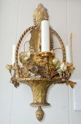 Superb Antique French Wall Bronze Sconce Rococo Basket Porcelain Flowers