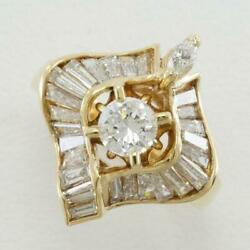 18k Yellow Gold Ring 11 Size Diamond Vvs2 1.23 About6.7g Free Shipping Used