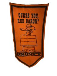 Snoopy Charlie Brown 1967 Orange Felt Pennant Banner Rare Fast Shipping