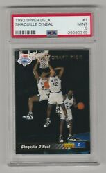 Shaquille Oneal Psa 9 Mint 1992 Upper Deck Rookie Card 1 Draft Pick Rc Oand039neal