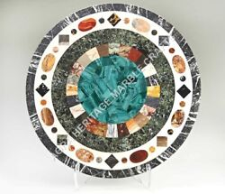 36 Multi Stone Marble Round Coffee Cafe Table Top Malachite Inlay Decor H4973a