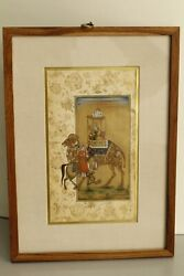 Handmade Mughal Miniature Painting Emperor Proposing The Empress With Red Rose