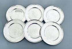 Set Of Six 6 Sterling Silver 6 1/4 Bread Plates M Monogram