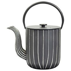 Ja-unendlich Cast Iron Teapot With Stainless Steel Infuser - Marage Black Silver
