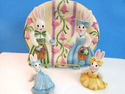Fitz And Floyd Essentials Be-bop Bunny Plate And 2 Tumbler Figurines