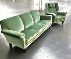1960/70and039s Danish Three Seater Sofa And High Back Armchair In The Manner Of Kurt