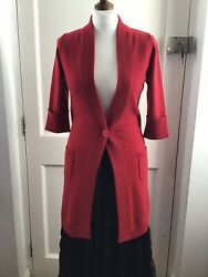 Allude Red 100 Cashmere Half Sleeve Long Cardigan Size Small