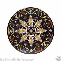 36 Black Marble Top Dining Hallway Table Top Floral Marquetry Inlay Home Decor