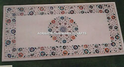 White Marble Dining Table Top Rare Multi Stone Inlaid Marquetry Home Decor H3117