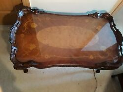 Antique French Floral Inlaid Carved Ornate French Louis Xv Style Coffee Table