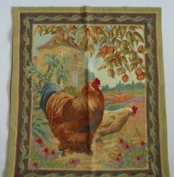 Vintage Woven Jacquard Grande Wall Tapestry French Country Roosters 34 x 40quot; USA