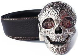 Tf Est 1968 Skull Buckle With Reversible Leather Belt