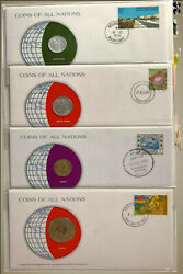 Coins Of All Nations Pnc - South Africa, Ghana, Sudan, Mauritania 4 Countries