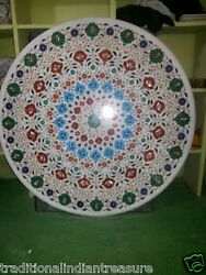 36 Marble Coffee Dining Table Top Floral Round Inlaid Mosaic Work Arts Decor