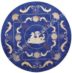 36 Blue Marble Dining Table Top Lapis Lazuli Inlay Antique Art Home Decor H5074