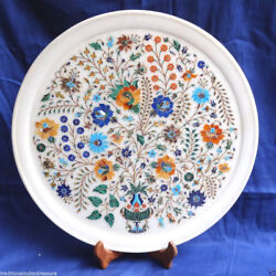 15 Marble Round Plate Multi Floral Marquetry Precious Inlay Design Gift Decor