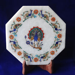 8 Marble Plate Dancing Peacock Lapis Paua Shell Inlay Arts Decor Occasion Gifts
